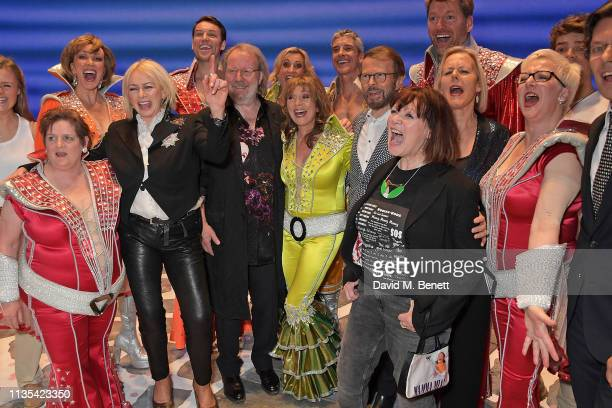 Jenny Galloway Judy Craymer Benny Andersson Siobhan McCarthy Bjorn Ulvaeus Catherine Johnson Phyllida Lloyd and Ricky Butt attend the 20th...