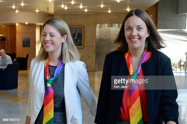 Jenny Gilruth and her partner former Scottish Labour leader Kezia Dugdale on the way to First Minister's Questions in the Scottish Parliament on June...
