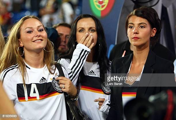 Jenny , girlfriend of Simon Rolfes, Melanie , girlfriend of Piotr Trochowski and Sylvia , wife of Miroslav Klose look on after the UEFA EURO 2008...