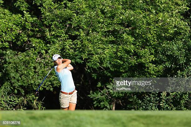Jenny Gleason of Clearwater Florida follows her drive to the green from the 8th tee during the second round of the Meijer LPGA Classic golf...