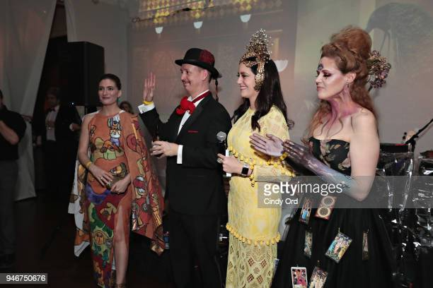 Jenny Goldman cochair Chien Dao Vaughn Massy and Kirsten Lewis attend the Dali Ball at The National Arts Club on April 13 2018 in New York City