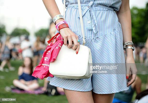 Jenny Gumbrecht is seen wearing a vintage dress and vintage bag during Day 2 of the 2016 Governors Ball Music Festival at Randall's Island on June 4...