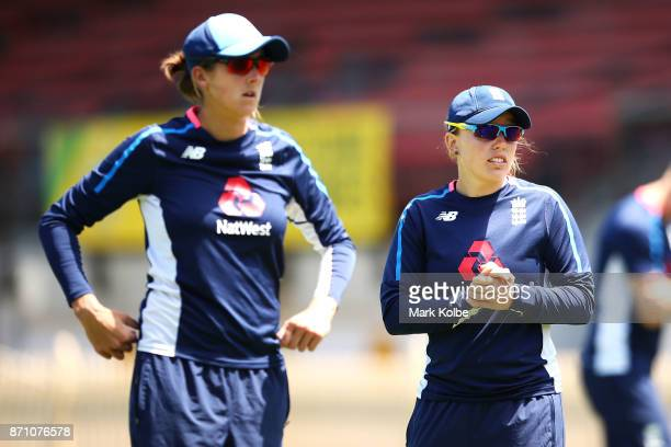 Jenny Gunn and Danielle Hazell watch on during an England women's Ashes series training session at North Sydney Oval on November 7 2017 in Sydney...