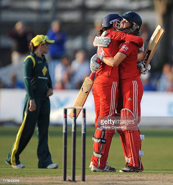 Jenny Gunn and Natalie Sciver of England celebrate the teams win and series win during the England Women and Australia Women Ashes Series 3rd NatWest...