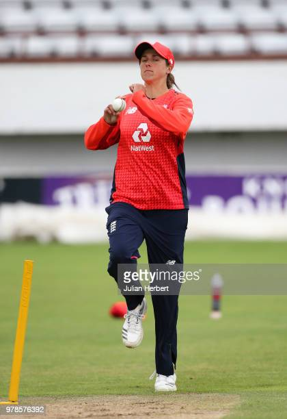 Anya Shrubsole of England takes part in a training session at The Cooper Associates County Ground on June 19 2018 in Taunton England