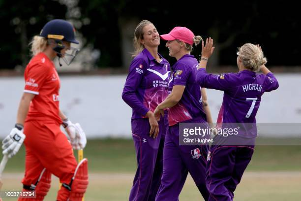 Jenny Gunn of Loughborough Lightning celebrates after taking the wicket of Emma Lamb of Lancashire Thunder during the Kia Super League game on July...