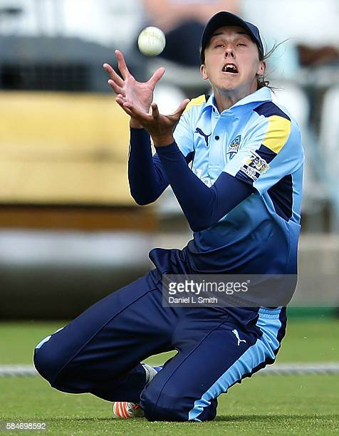 Jenny Gunn of Yorkshire catches the ball off Sophie Devine of Loughborough during the inaugural Kia Super League women's cricket match between...