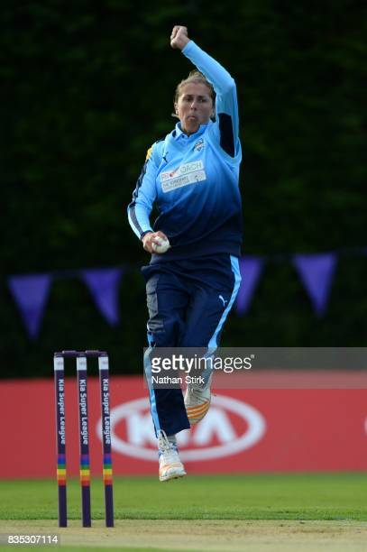 Jenny Gunn of Yorkshire runs into bowl during the Kia Super League 2017 match between Loughborough Lightning and Yorkshire Diamonds at The Haslegrave...
