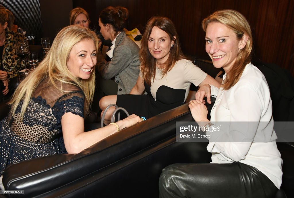 Jenny Halpern-Prince, Emily Oppenheimer and Anouschka Menzies attend a cocktail party at the Bulgari Hotel London to celebrate the launch of MIASUKI at Harrods on March 13, 2017 in London, England.