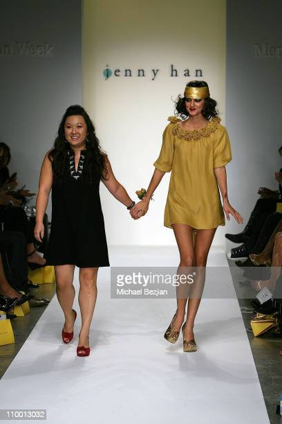 Jenny Han and Caroline D'Amore on the runway at the Jenny Han Spring 2008 fashion show during the Mercedes Benz Fashion Week at Smashbox Studios on...