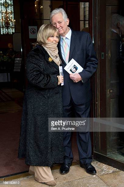 Jenny Hanley and Jeremy Hanley attend a memorial for Dinah Sheridan an actress who starred in 'The Railway Children' at St Paul's Church on April 9...