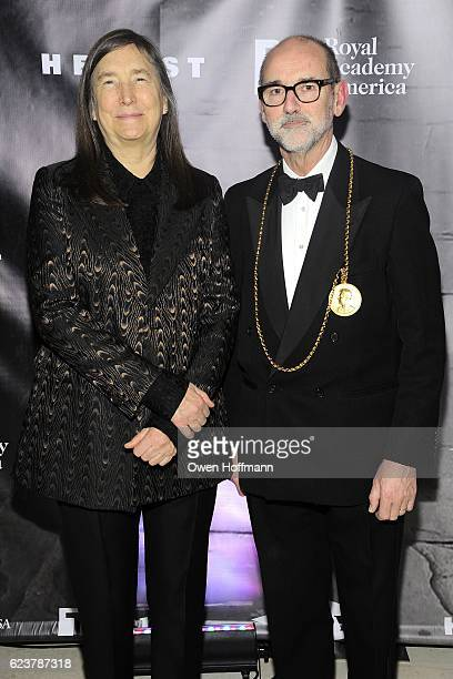 Jenny Holzer and Christopher Le Brun attend Royal Academy America Gala Honoring Norman Foster and Jenny Holzer at Hearst Tower on November 15 2016 in...