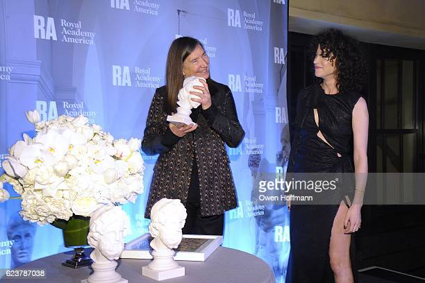 Jenny Holzer and St Vincent attend Royal Academy America Gala Honoring Norman Foster and Jenny Holzer at Hearst Tower on November 15 2016 in New York...