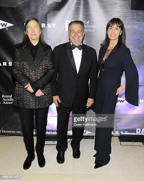 Jenny Holzer Andrew Liveris and Paula Liveris attend Royal Academy America Gala Honoring Norman Foster and Jenny Holzer at Hearst Tower on November...