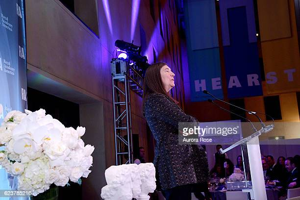 Jenny Holzer attends Royal Academy America Gala Honoring Norman Foster and Jenny Holzer at Hearst Tower on November 15 2016 in New York City