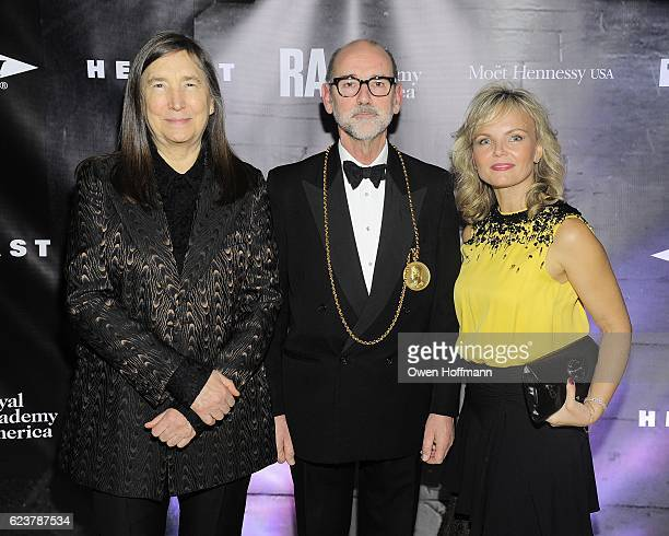 Jenny Holzer Christopher Le Brun and Monika McLennan attend Royal Academy America Gala Honoring Norman Foster and Jenny Holzer at Hearst Tower on...