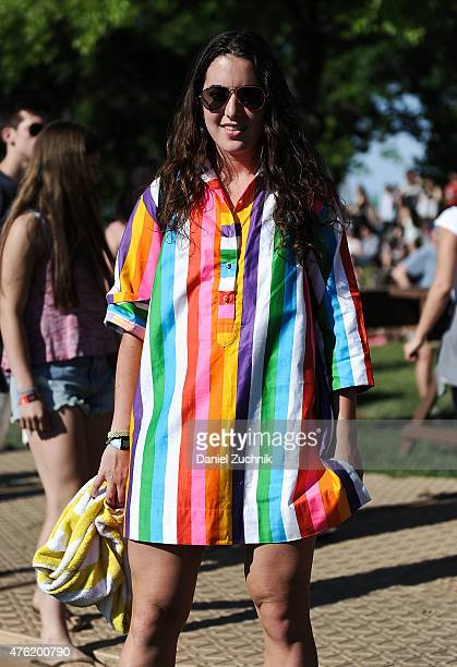 Jenny is seen wearing a vintage top during the 2015 Governors Ball Music Festival at Randall's Island on June 6 2015 in New York City