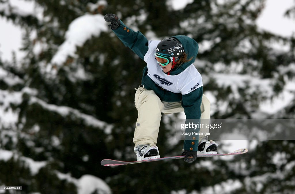 Jenny Jones of Bristol, Great Britain spins a 540 during the finals as she won the gold medal in the Women's Snowboard Slopestyle in Winter X Games 13 on Buttermilk Mountain on January 24, 2009 in Aspen, Colorado.