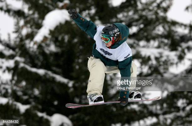 Jenny Jones of Bristol Great Britain spins a 540 during the finals as she won the gold medal in the Women's Snowboard Slopestyle in Winter X Games 13...