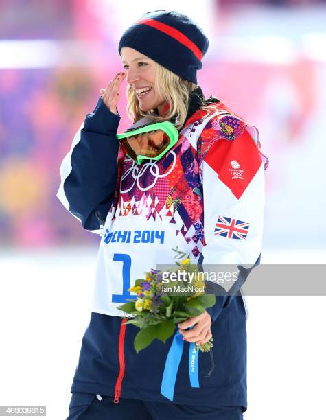 Jenny Jones of Great Britain celebrates third place during the Snowboard Women's Slopestyle Final during day 2 of the Sochi 2014 Winter Olympics at...