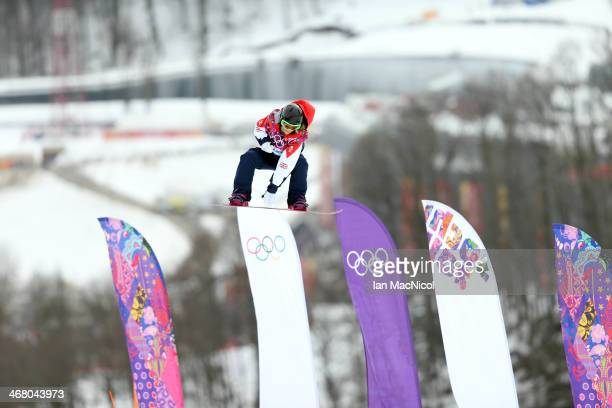 Jenny Jones of Great Britain competes during the Snowboard Women's Slopestyle Final during day 2 of the Sochi 2014 Winter Olympics at Rosa Khutor...