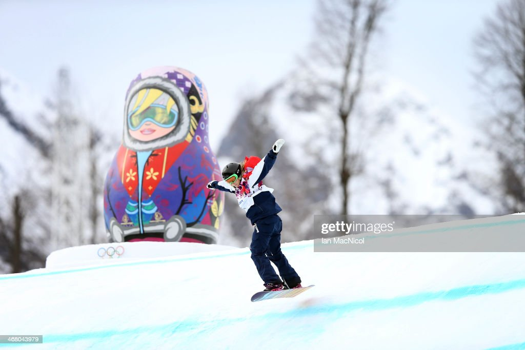 Jenny Jones of Great Britain competes during the Snowboard Women's Slopestyle Final during day 2 of the Sochi 2014 Winter Olympics at Rosa Khutor Extreme Park on February 9, 2014 in Sochi, Russia.