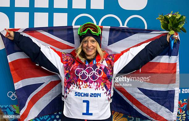 Jenny Jones of Great Britain poses with a Union Jack after claiming bronze medal in the Women's Snowboard Slopestyle Finals during day two of the...