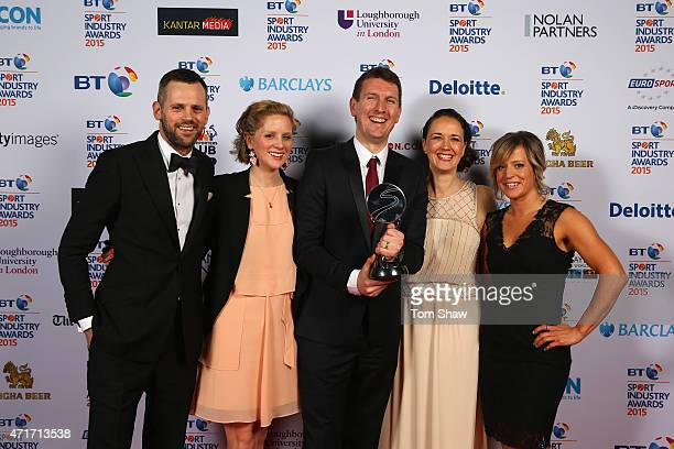Jenny Jones poses with the winners of Best Sponsorship of Team or Individual Award sponsored by Kantar Media presented to O2 England Rugby at the BT...
