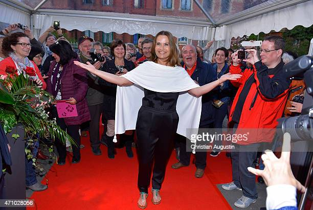 Jenny Juergens and fans attend the celebration of 2000 episodes of Rote Rosen at Ritterakademie on April 24 2015 in Lueneburg Germany