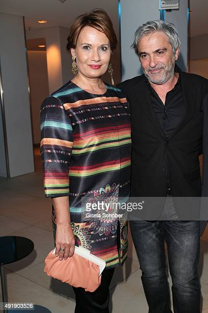 Jenny Juergens daughter of Udo Juergens and her husband David Carreras Sole during the Munich premiere of the musical 'Ich war noch niemals in New...