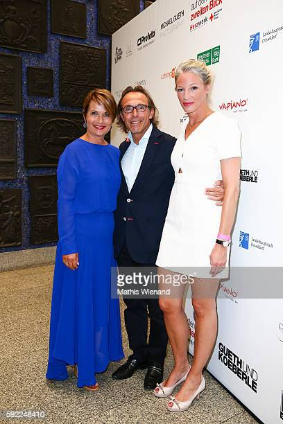 Jenny Juergens Thomas Druyen and Constance Bruhns attend the Herzwerk Vernissage 'auf den 2ten Blick' at City Hall on August 19 2016 in Duesseldorf...