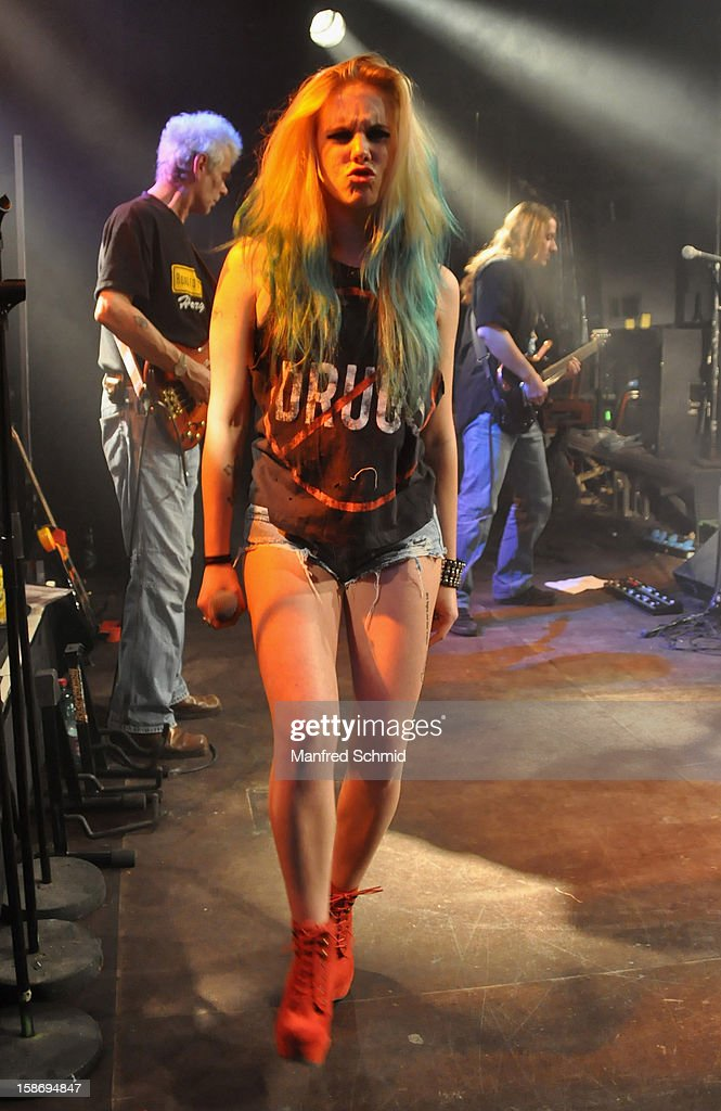 Jenny Kandut of Sextiger performs onstage during the heavy X-mas concert at Szene Wien music club on December 20, 2012 in Vienna, Austria.