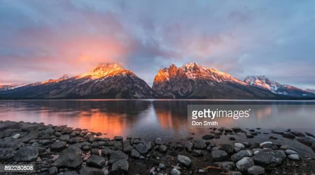 jenny lake sunrise - don smith stock pictures, royalty-free photos & images
