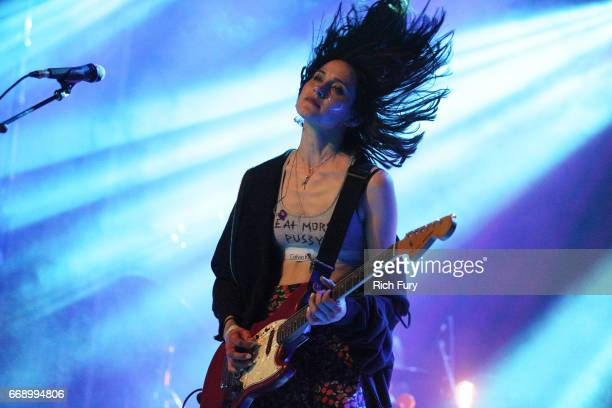 Jenny Lee Lindberg of Warpaint perform onstage at the Gobi tent during day 2 of the Coachella Valley Music And Arts Festival at Empire Polo Club on...