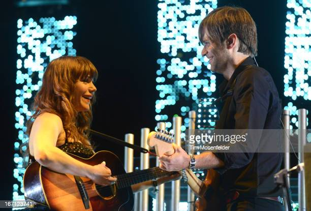Jenny Lewis and Ben Gibbard of The Postal Service perform as part of the 2013 Coachella Valley Music Arts Festival at the Empire Polo Field on April...