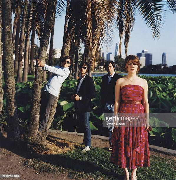 Jenny Lewis Jason Boesel Pierre de Reeder and Blake Sennett of Rilo Kiley in Los Angeles California United States May 2006