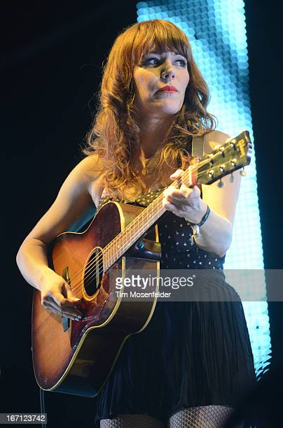 Jenny Lewis of The Postal Service performs as part of the 2013 Coachella Valley Music & Arts Festival at the Empire Polo Field on April 20, 2013 in...