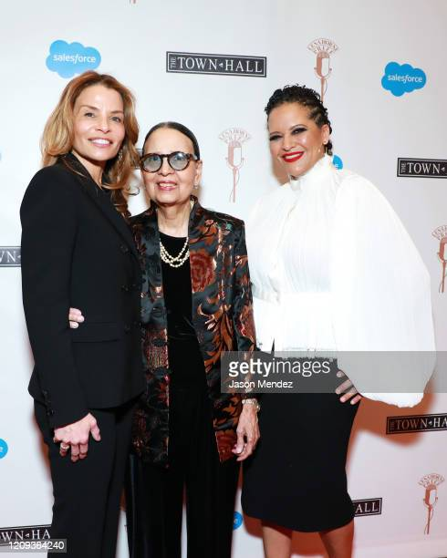 Jenny Lumet Gail Lumet Buckley and Cristina Mancini Jones attend the Lena Horne Prize Event Honoring Solange Knowles Presented by Salesforce at the...