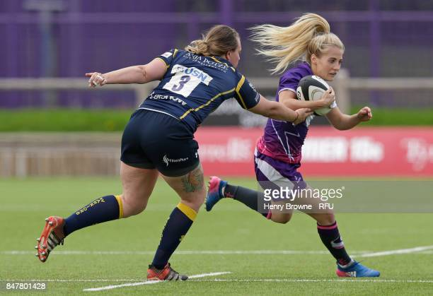 Jenny Maxwell of Loughborough Lightning and Lizzie Binks of Worcester Valkyries during the Tyrrells Premier 15's match between Loughborough Lightning...