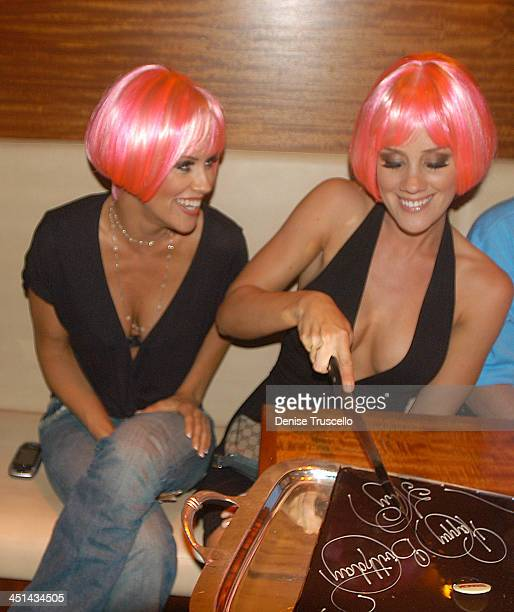Jenny McCarthy and Amy McCarthy during Amy McCarthys Birthday Bash Dinner at Stack Restaurant at The Mirage Hotel and Casino Resort Stack Restaurant...