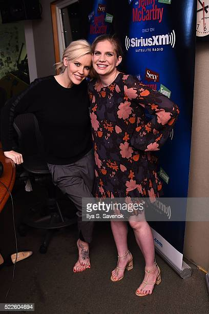 Jenny McCarthy and Anna Chlumsky visit the SiriusXM Studio on April 20 2016 in New York City