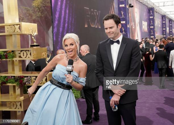 Jenny McCarthy and Bill Hader attend FOXS LIVE EMMY RED CARPET PRESHOW during the 71ST PRIMETIME EMMY AWARDS airing live from the Microsoft Theater...