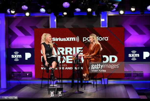 Jenny McCarthy and Carrie Underwood attend SiriusXM's Town Hall With Carrie Underwood Hosted By SiriusXM's Jenny McCarthy At The SiriusXM Studios on...