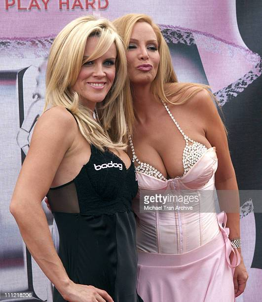 Jenny McCarthy and Cindy Margolis during Bodogcom Presents the 2006 Lingerie Bowl at Los Angels Memorial Coliseum in Los Angeles California United...