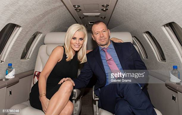 Jenny McCarthy and Donnie Wahlberg join Private Jet app to celebrate the launch of new Chicago routes at Chicago Executive Airport on March 4 2016 in...