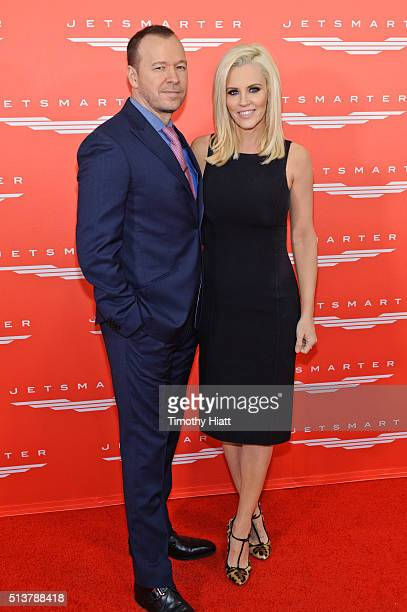 Jenny McCarthy and Donnie Wahlberg joins Private Jet app to celebrate the launch of new Chicago routes at Chicago Executive Airport on March 4 2016...