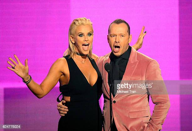 Jenny McCarthy and Donnie Wahlberg speak onstage during the 2016 American Music Awards held at Microsoft Theater on November 20 2016 in Los Angeles...