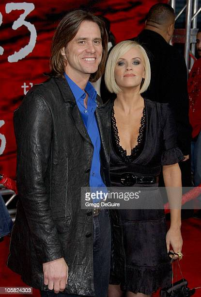 Jenny McCarthy and Jim Carrey during 'The Number 23' Los Angeles Premiere Arrivals at The Orpheum Theater in Los Angeles California United States