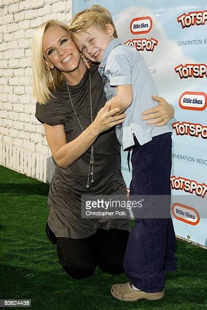 Jenny McCarthy and son Evan Asher arrives to the launch of TotSpotcom sponsored by Little Tikes and benefiting Generation Rescue at the Treehouse...