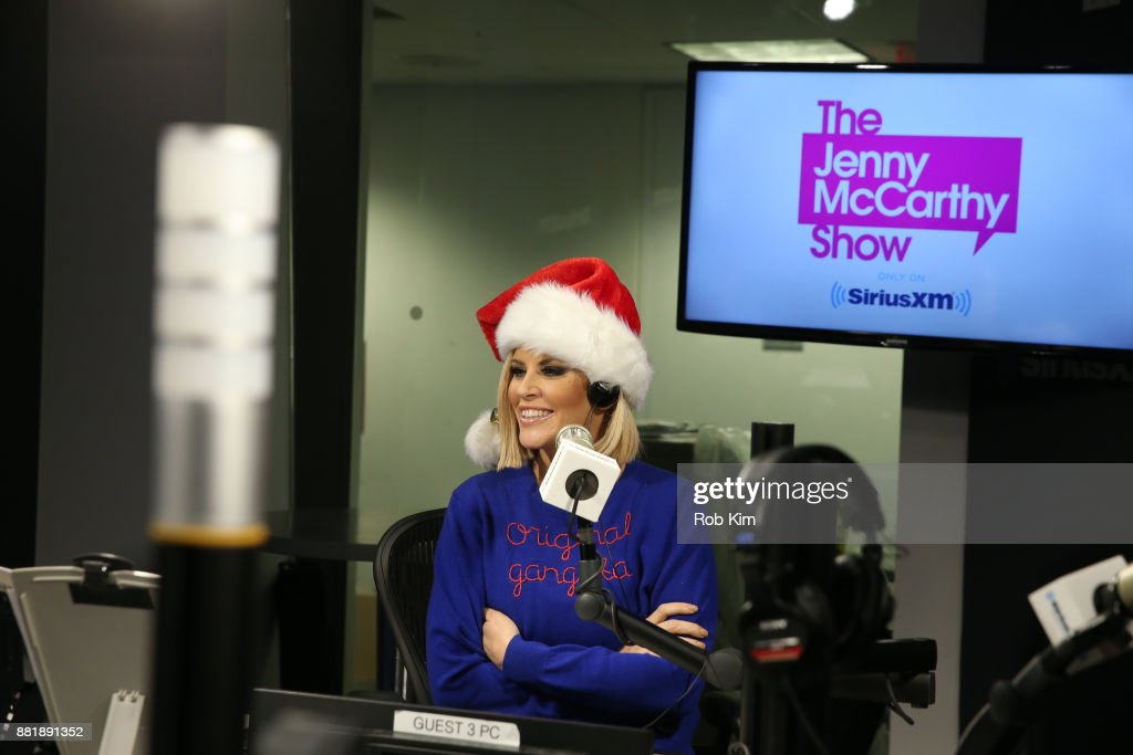 Jenny McCarthy appears on set of her radio show, 'The Jenny McCarthy Show' at SiriusXM Studios on November 29, 2017 in New York City.